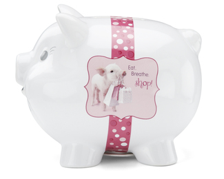 "Shopping by Shaded Pink - 5.5""x4.3""x4.5"" Piggy Bank"