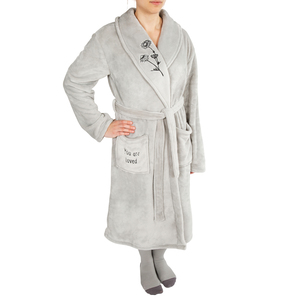 Loved by Faith Hope and Healing - One Size Fits Most Gray Royal Plush Robe