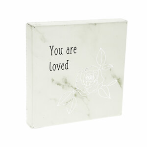 "Loved by Faith Hope and Healing - 4.5"" Faux Leather Plaque"