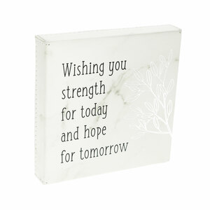 "Strength for Today by Faith Hope and Healing - 4.5"" Faux Leather Plaque"