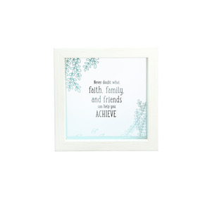"Faith and Family by Faith Hope and Healing - 5"" x 5"" Framed Glass Plaque"