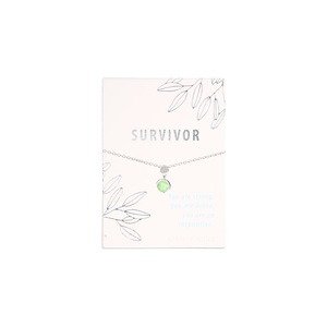 "Survivor Iced Lime Opal by Faith Hope and Healing - 16.5""-18.5"" Rhodium Plated Inspirational Necklace"