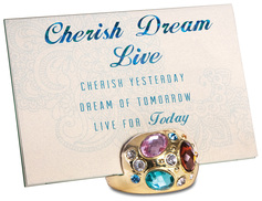 "Cherish Dream, Live by Simply Shining - 4""x6"" Jeweled Photo Frame"