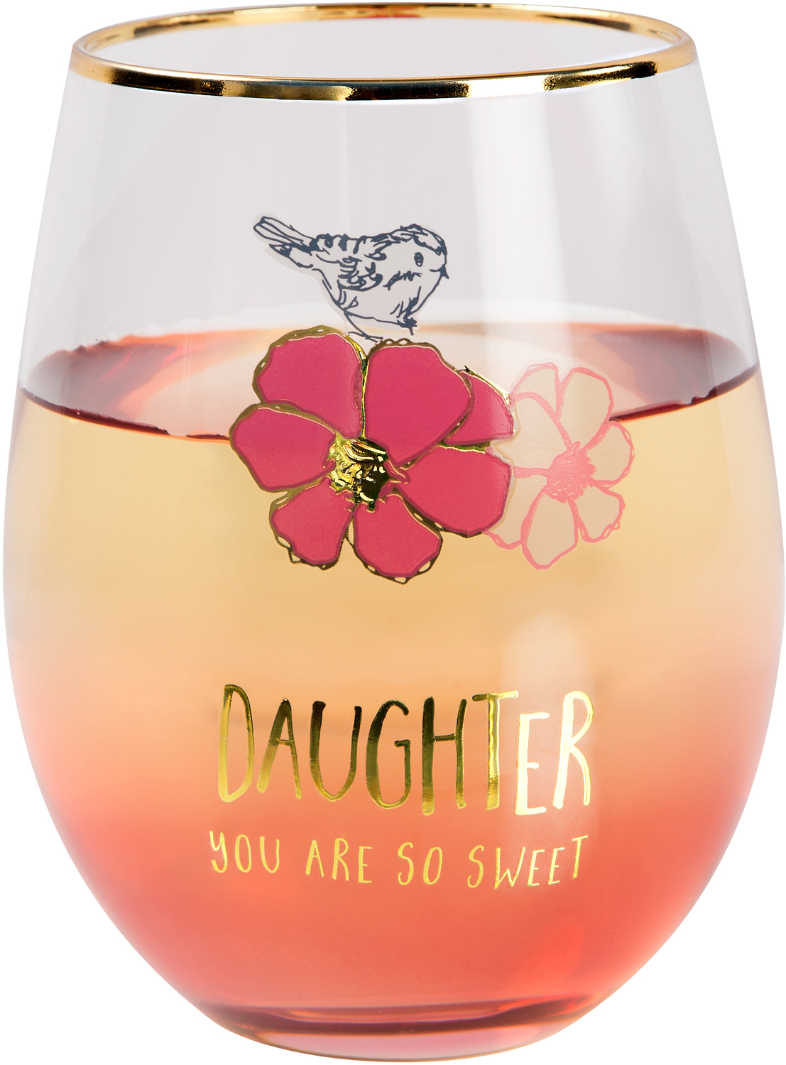 Daughter by Heartful Love - Daughter - 18 oz Stemless Wine Glass