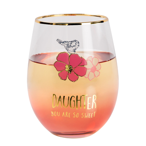Daughter by Heartful Love - 18 oz Stemless Wine Glass