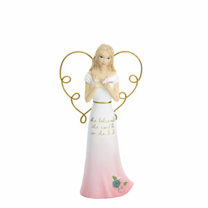 "She Believed by Heartful Love - 5.5"" Angel Holding Butterfly"
