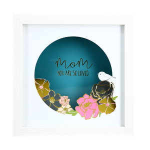 "Mom by Heartful Love - 8"" Cut Paper Shadow Box"