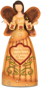 "Aunt by Country Soul - 6"" Angel Holding Flower Banner"