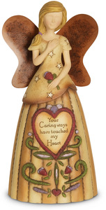 "Caring Heart by Country Soul - 6"" Angel Holding a Flower"
