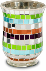 "Mosaic Glass Candle Holder by Merry Mosaics - 6"" Mosaic Glass Candle Holder"