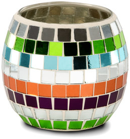 "Mosaic Glass Candle Holder by Merry Mosaics - Round 4.5"" Mosaic Glass Candle Holder"