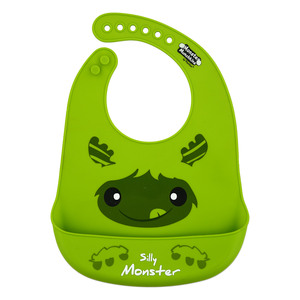 "Green Silly Monster by Monster Munchkins - 12"" Silicone Catch All Bib"