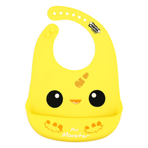 "Yellow Mini Monster by Monster Munchkins - 12"" Silicone Catch All Bib"