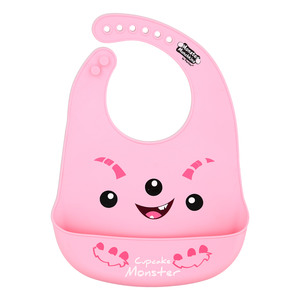 "Pink Cupcake Monster by Monster Munchkins - 12"" Silicone Catch All Bib"
