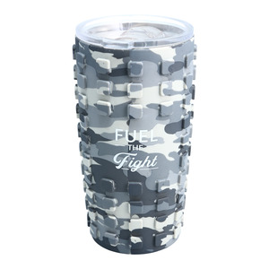 Fight by Camo Community - 20 oz Travel Tumbler with 3D Silicone Wrap