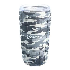 Badass Dad by Camo Community - 20 oz Travel Tumbler with 3D Silicone Wrap