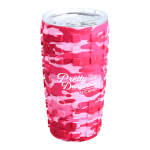 Pretty in Pink by Camo Community - 20 oz Travel Tumbler with 3D Silicone Wrap