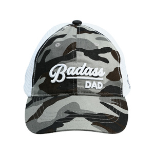 Badass Dad by Camo Community - Gray Camo Adjustable Mesh Hat