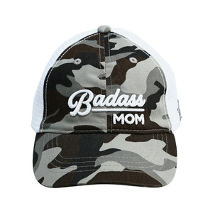 Badass Mom by Camo Community - Gray Camo Adjustable Mesh Hat