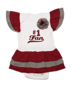 Crimson & Gray by Itty Bitty & Pretty - #1 Fan Onesie Dress (0-6 Months)