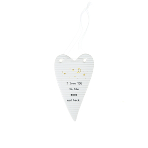 "Moon & Back by Thoughtful Words - 4"" Hanging Heart Plaque"