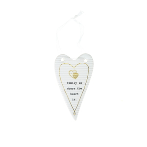 "Family by Thoughtful Words - 4"" Hanging Heart Plaque"