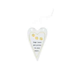 "Dogs by Thoughtful Words - 4"" Hanging Heart Plaque"