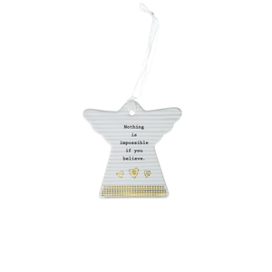 "If You Believe by Thoughtful Words - 3"" Hanging Angel Plaque"