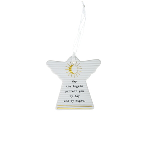 "Angels Protect by Thoughtful Words - 3"" Hanging Angel Plaque"