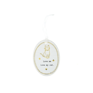 "Cat by Thoughtful Words - 3.5"" Hanging Oval Plaque"