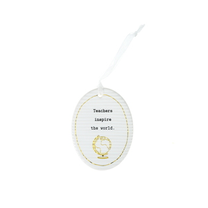 "Teacher by Thoughtful Words - 3.5"" Hanging Oval Plaque"