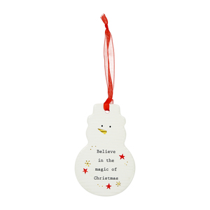 "Believe by Thoughtful Words - 3.75"" Snowman Ornament"