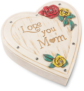 "Mom by Simple Spirits - 4"" Heart Keepsake Box"
