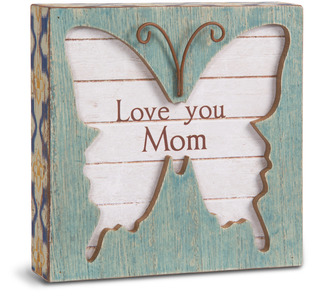 "Mom by Simple Spirits - 4.5"" Butterfly Plaque"