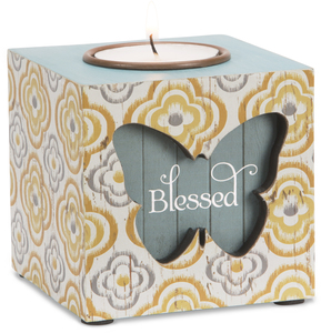 "Blessed by Simple Spirits - 2.5"" x 2.5"" x 2"" MDF Tea Light Holder"