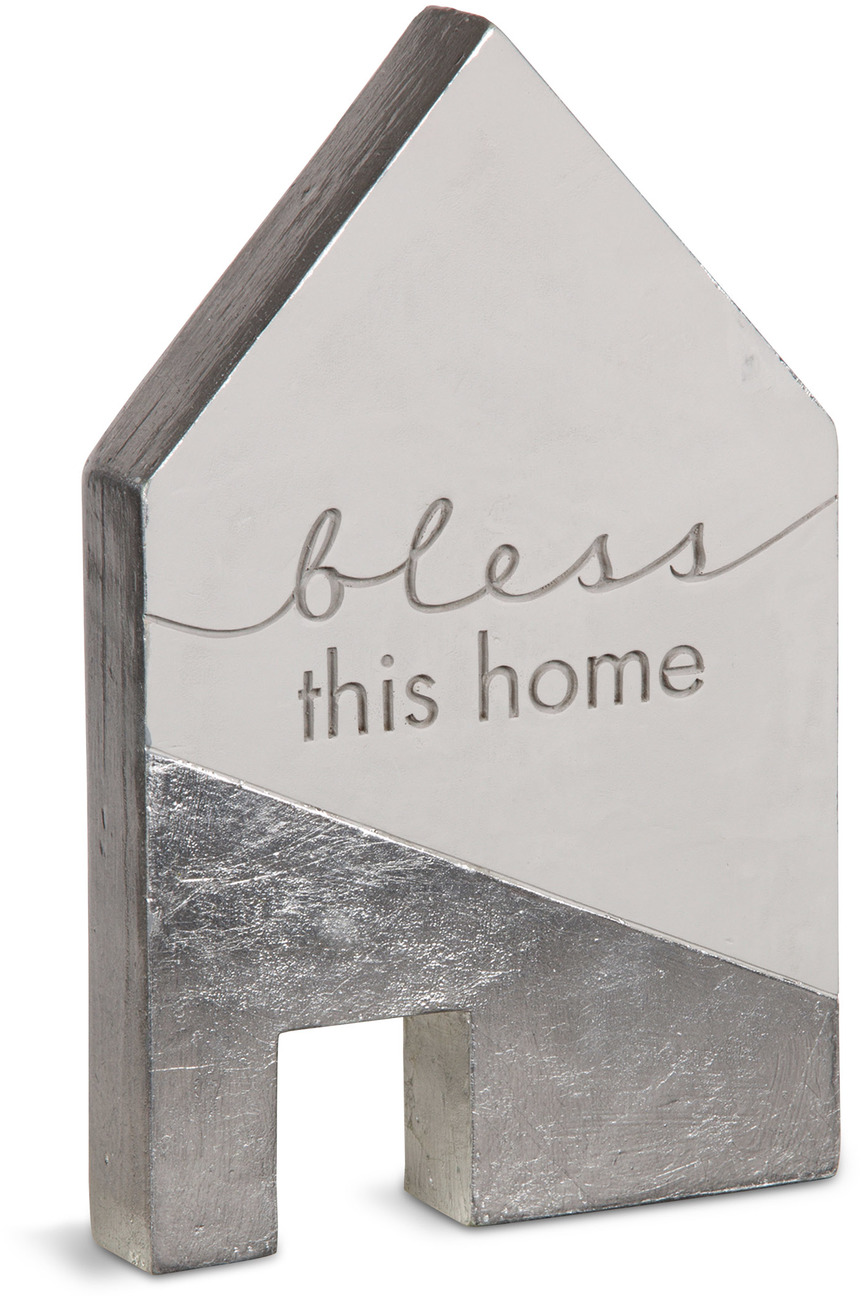 "Bless This Home by Sweet Concrete - Bless This Home - 5"" x 1"" x 8"" Cement House"