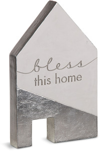 "Bless This Home by Sweet Concrete - 5"" x 1"" x 8"" Cement House"
