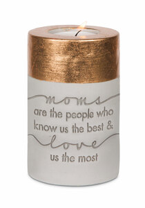 "Mom by Sweet Concrete - 3"" x 4.75"" Cement Candle Holder"