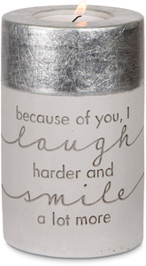 "Because of You by Sweet Concrete - 3"" x 4.75"" Cement Candle Holder"