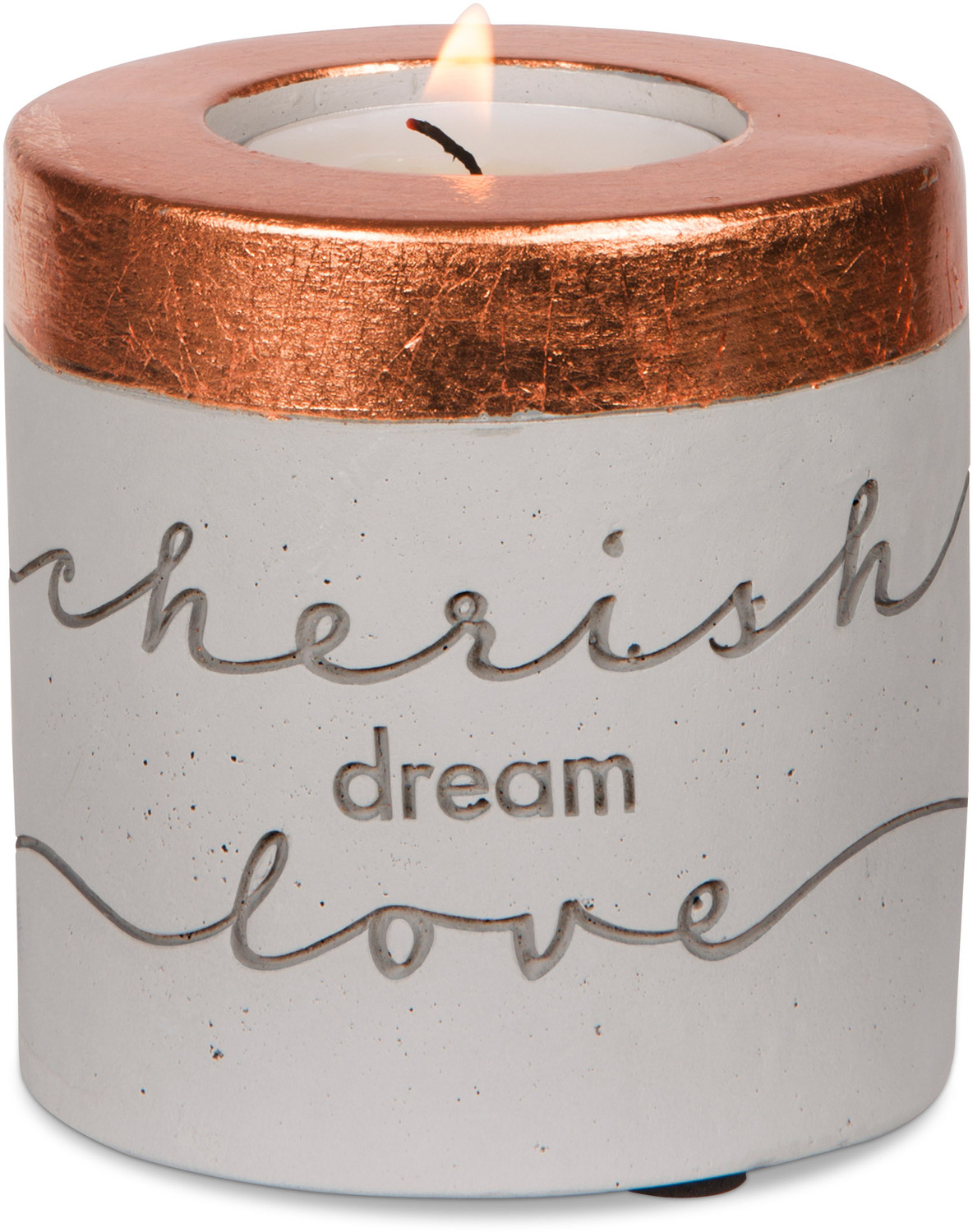 "Cherish, Dream, Love by Sweet Concrete - Cherish, Dream, Love - 3"" x 3"" Cement Candle Holder"