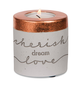 "Cherish, Dream, Love by Sweet Concrete - 3"" x 3"" Cement Candle Holder"