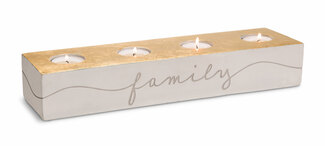 "Family Love  by Sweet Concrete - 13.75""  x 2.25"" x 3.75"" Cement Candle Holder"