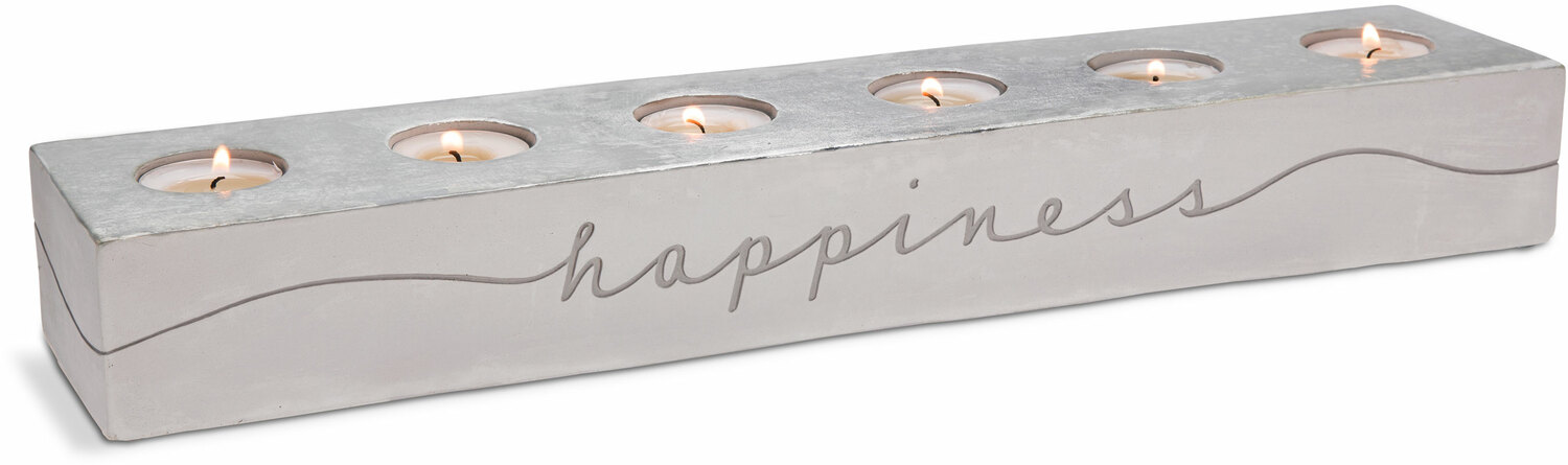 "Happiness & Simplicity by Sweet Concrete - Happiness & Simplicity - 18"" x 3.75"" x 2.25"" Cement Candle Holder"