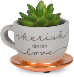 "Cherish, Dream, Love by Sweet Concrete - 4"" x 2.5"" Cement Teacup Planter & Faux Succulent"