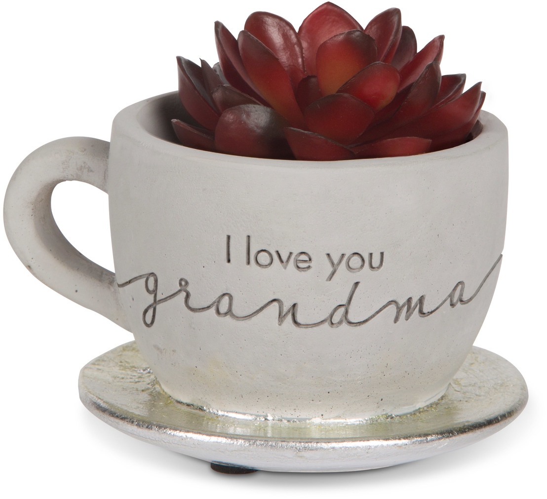 "Grandma by Sweet Concrete - Grandma - 4"" x 2.5"" Cement Teacup Planter & Faux Succulent"