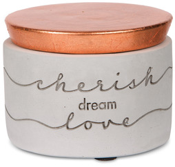 "Cherish, Dream, Love by Sweet Concrete - 3"" x 2.25"" Cement Keepsake Box"