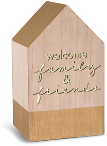 "Welcome by Sweet Concrete - 8"" LED Lit Wooden House"