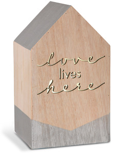 "Love Lives Here by Sweet Concrete - 8"" LED Lit Wooden House"