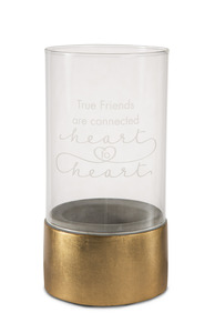 "True Friends by Sweet Concrete - 3.5"" x 7"" Cement & Glass Candle Holder"