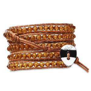 "Butterscotch-Amber Glass by H2Z - Wrap Bracelets - 35"" Amber Glass Beads with Tan Leather Wrap Bracelet"